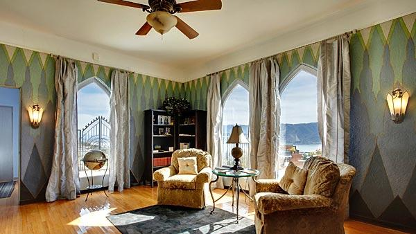 Arched windows in Sister Aimee Castle in Lake Elsinore
